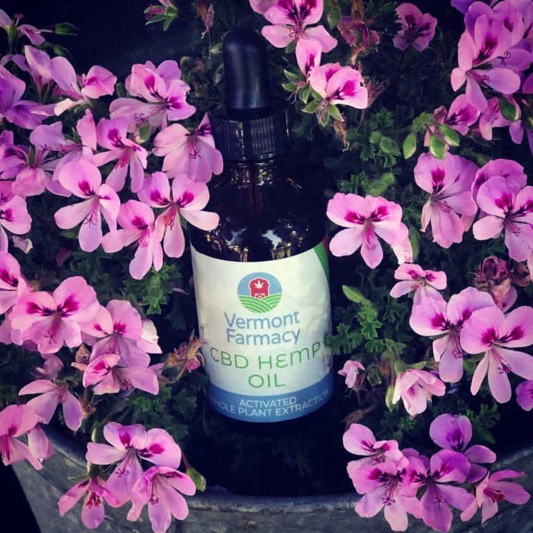 CBD Hemp oil bottle laying in pink flowers