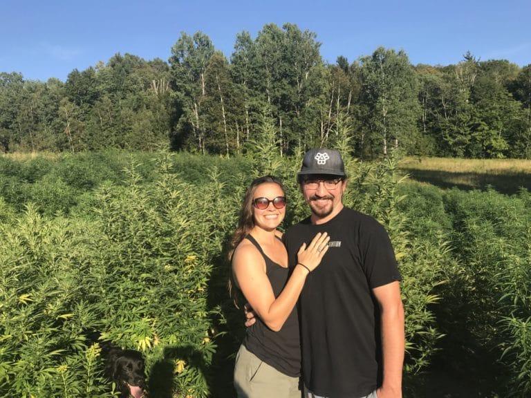 Erin and Colin in a hemp field