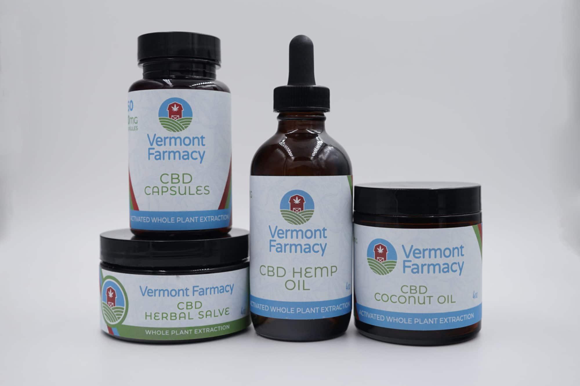 Vermont Farmacy products: CBD Capsules, CBD Herbal Salve, CBD Hemp Oil, and CBD Coconut Oil