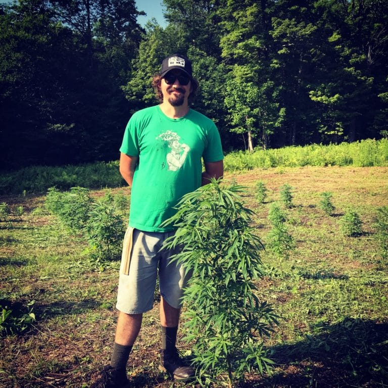 Colin standing next to hemp plant