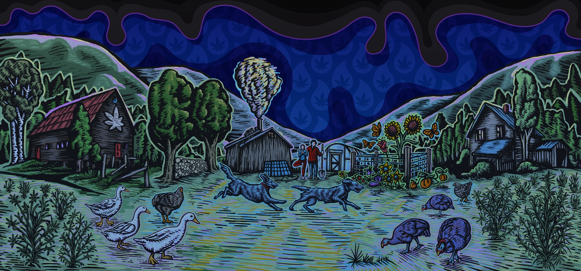 Illustration of Vermont Farmacy organic hemp farm, modified for Liquid Blue with rainy sky and cyan overtones